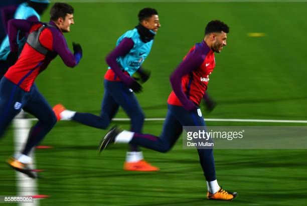 Alex OxladeChamberlain during an England Training Session at The LFF Stadium in Vilnius at a Media Access day on October 7 2017 in Vilnius