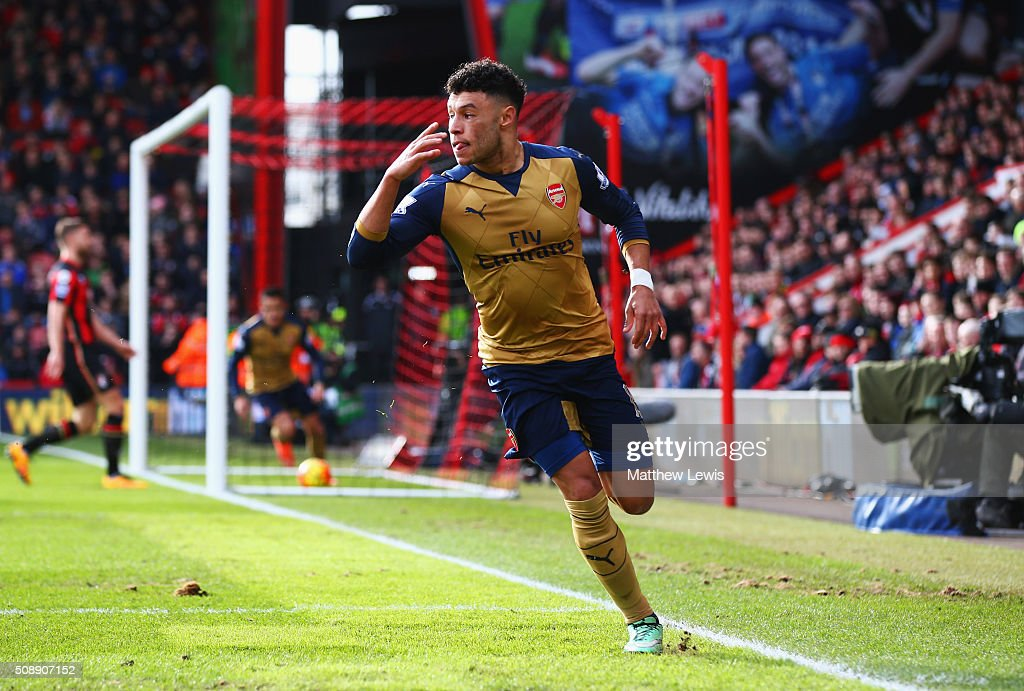 <a gi-track='captionPersonalityLinkClicked' href=/galleries/search?phrase=Alex+Oxlade-Chamberlain&family=editorial&specificpeople=7191518 ng-click='$event.stopPropagation()'>Alex Oxlade-Chamberlain</a> of Arsenal celebrates as he scores their second goal during the Barclays Premier League match between A.F.C. Bournemouth and Arsenal at the Vitality Stadium on February 7, 2016 in Bournemouth, England.