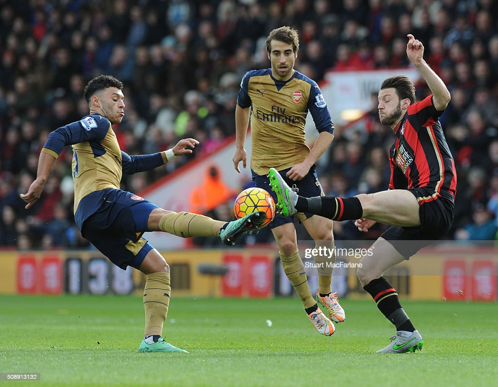 <a gi-track='captionPersonalityLinkClicked' href=/galleries/search?phrase=Alex+Oxlade-Chamberlain&family=editorial&specificpeople=7191518 ng-click='$event.stopPropagation()'>Alex Oxlade-Chamberlain</a> of Arsenal challenged by <a gi-track='captionPersonalityLinkClicked' href=/galleries/search?phrase=Harry+Arter&family=editorial&specificpeople=3430393 ng-click='$event.stopPropagation()'>Harry Arter</a> of Bournemouth during the Barclays Premier League match between AFC Bournemouth and Arsenal at The Vitality Stadium on February 7, 2016 in Bournemouth, England. (Photo by Stuart MacFarlane/Arsenal FC via Getty Images