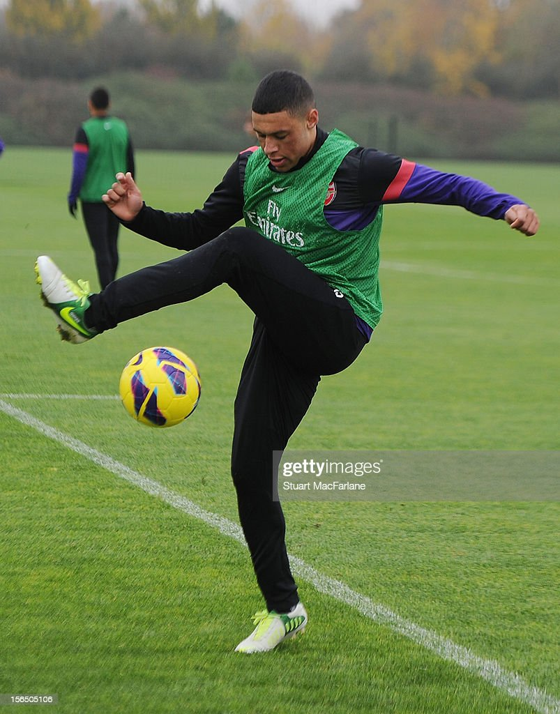 <a gi-track='captionPersonalityLinkClicked' href=/galleries/search?phrase=Alex+Oxlade-Chamberlain&family=editorial&specificpeople=7191518 ng-click='$event.stopPropagation()'>Alex Oxlade-Chamberlain</a> of Arsenal during a training session at London Colney on November 16, 2012 in St Albans, England.