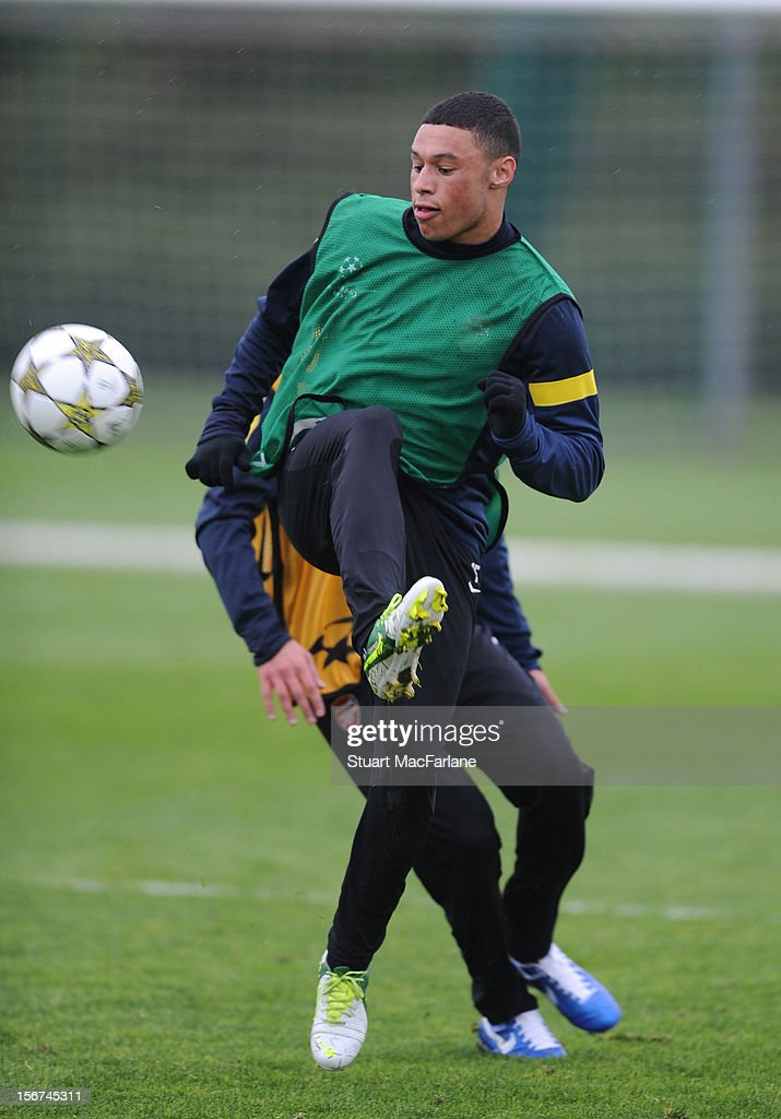 Alex Oxlade-Chamberlain of Arsenal during a training session at London Colney on November 20, 2012 in St Albans, England.