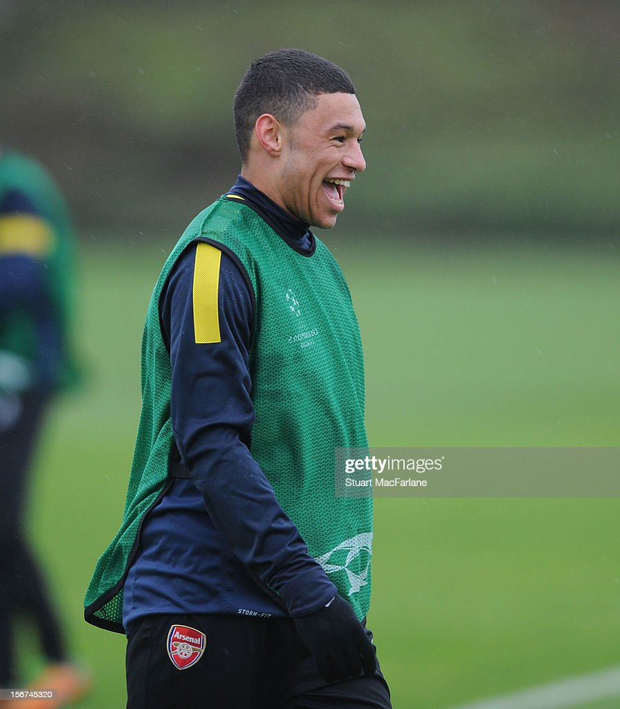 <a gi-track='captionPersonalityLinkClicked' href=/galleries/search?phrase=Alex+Oxlade-Chamberlain&family=editorial&specificpeople=7191518 ng-click='$event.stopPropagation()'>Alex Oxlade-Chamberlain</a> of Arsenal during a training session at London Colney on November 20, 2012 in St Albans, England.