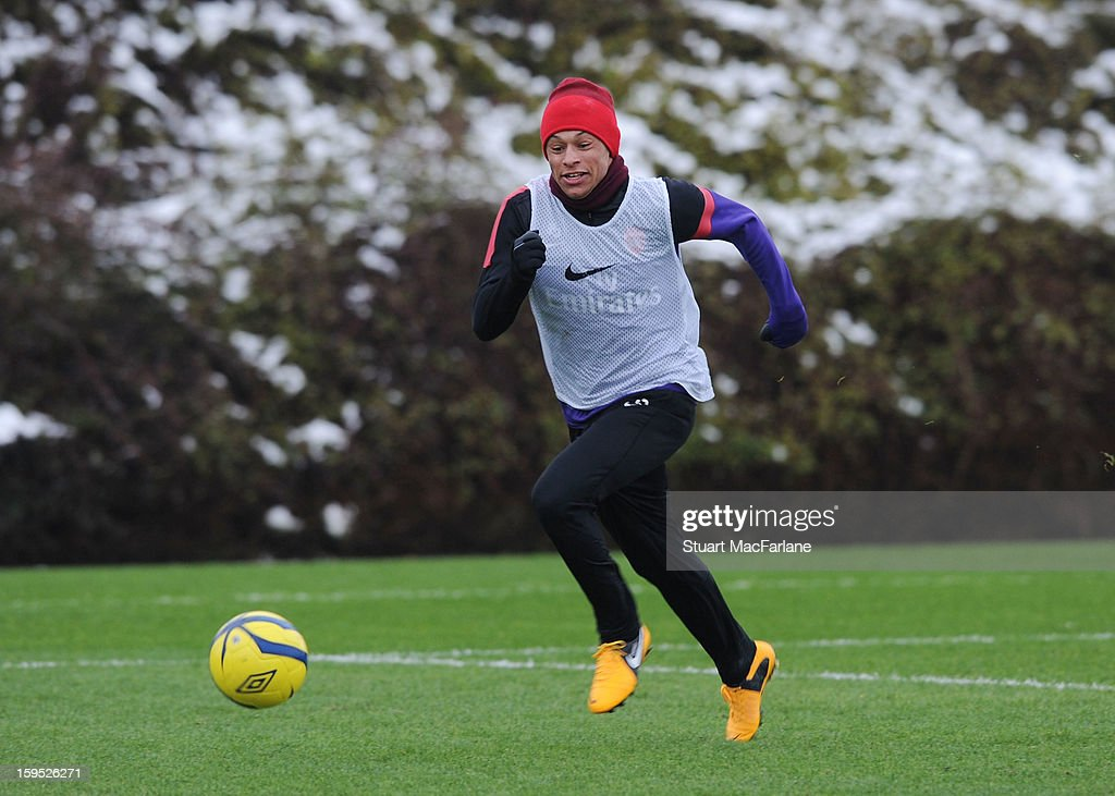 Alex Oxlade-Chamberlain of Arsenal during a training session at London Colney on January 15, 2013 in St Albans, England.