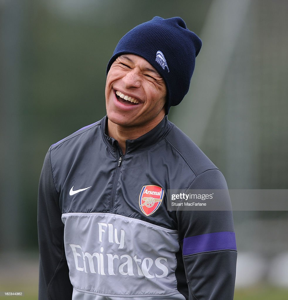 Alex Oxlade-Chamberlain of Arsenal during a training session at London Colney on February 22, 2013 in St Albans, England.