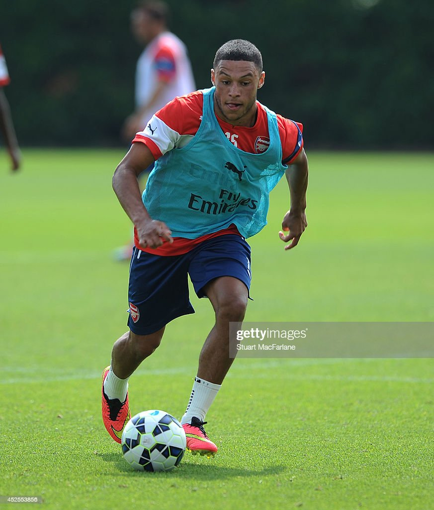 Alex Oxlade-Chamberlain of Arsenal during a training session at London Colney on July 23, 2014 in St Albans, England.