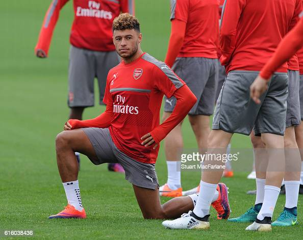 Alex OxladeChamberlain of Arsenal during a training session at London Colney on October 21 2016 in St Albans England
