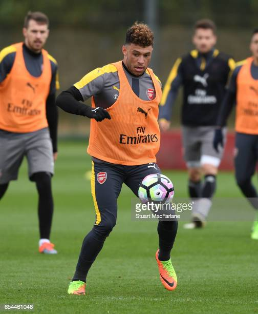Alex OxladeChamberlain of Arsenal during a training session at London Colney on March 17 2017 in St Albans England