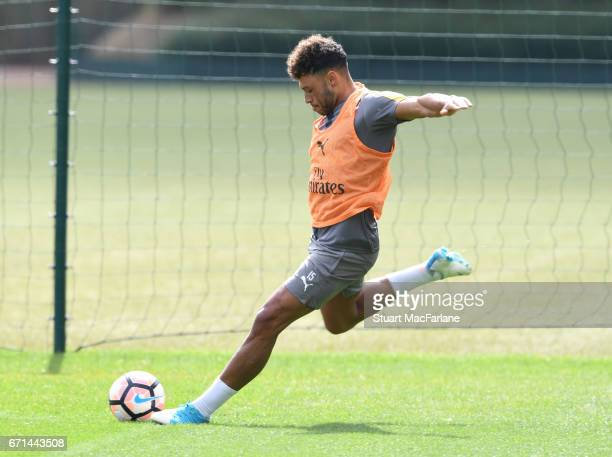 Alex OxladeChamberlain of Arsenal during a training session at London Colney on April 22 2017 in St Albans England