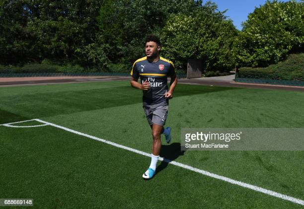 Alex oxladeChamberlain of Arsenal during a training session at London Colney on May 26 2017 in St Albans England