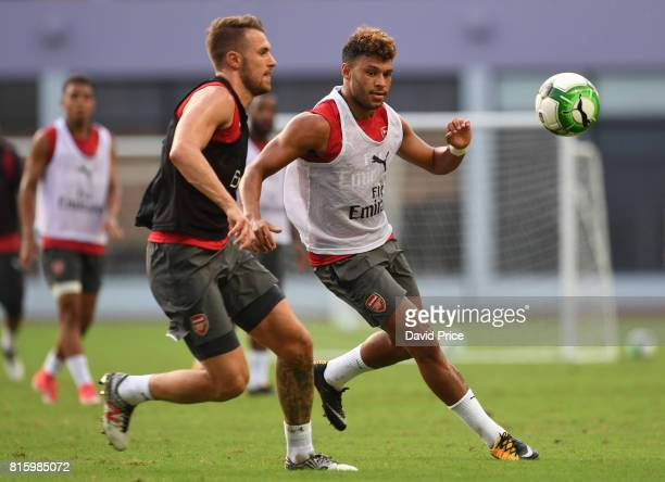 Alex OxladeChamberlain of Arsenal during an Arsenal Training Session at Yuanshen Sports Centre Stadium on July 17 2017 in Shanghai China