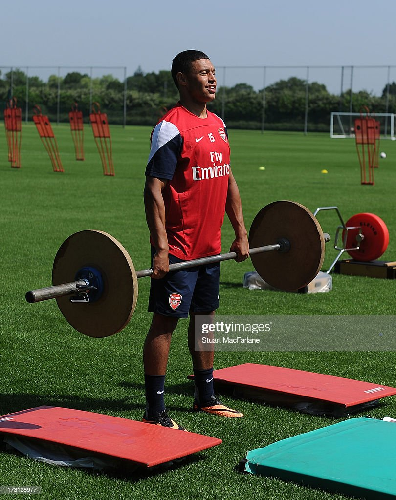 Alex Oxlade-Chamberlain of Arsenal in action during a training session at London Colney on July 08, 2013 in St Albans, England.