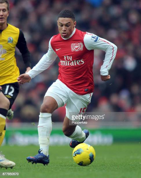 Alex OxladeChamberlain of Arsenal in action during the Barclays Premier League match between Arsenal and Blackburn Rovers at the Emirates Stadium on...
