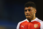 Alex OxladeChamberlain of Arsenal looks dejected as he walks off for half time during the UEFA Champions League Group F match between Dinamo Zagreb...