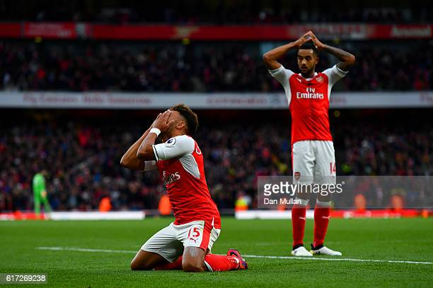 Alex OxladeChamberlain of Arsenal reacts to having his goal disallowed during the Premier League match between Arsenal and Middlesbrough at Emirates...