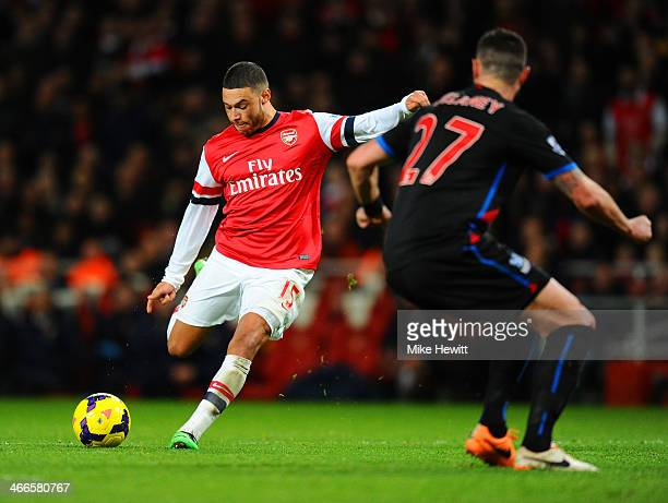 Alex OxladeChamberlain of Arsenal scores his second goal during the Barclays Premier League match between Arsenal and Crystal Palace at Emirates...
