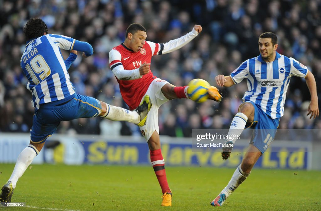 <a gi-track='captionPersonalityLinkClicked' href=/galleries/search?phrase=Alex+Oxlade-Chamberlain&family=editorial&specificpeople=7191518 ng-click='$event.stopPropagation()'>Alex Oxlade-Chamberlain</a> of Arsenal shoots past Brighton's Leonardo Ulloa and (L) Gary Dicker during the FA Cup Fourth Round match between Brighton & Hove Albion and Arsenal at the Amex Stadium on January 26, 2013 in Brighton, England.