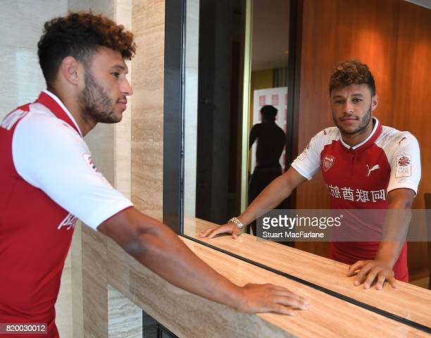 Alex OxladeChamberlain of Arsenal takes part in a chinese cooking event for Emirates on July 21 2017 in Beijing China