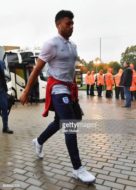 Alex OxladeChamberlain of England arrives prior to the FIFA 2018 World Cup Group F Qualifier between Lithuania and England at LFF Stadium on October...