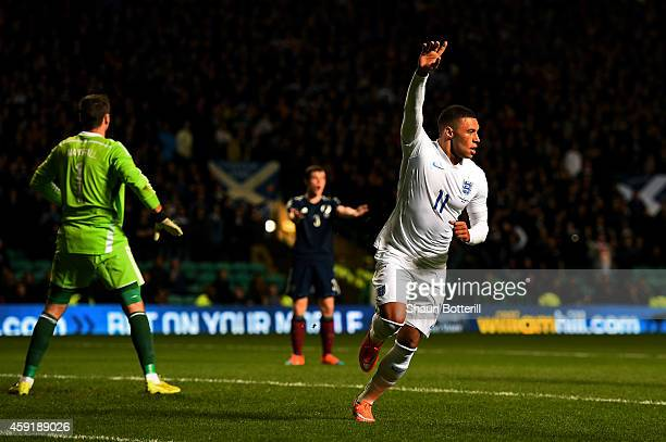 Alex OxladeChamberlain of England celebrates after scoring the opening goal during the International Friendly match between Scotland and England at...