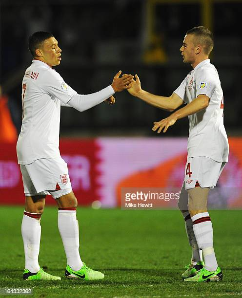 Alex OxladeChamberlain of England celebrates his goal with Tom Cleverley during the FIFA 2014 World Cup Qualifier Group H match between San Marino...