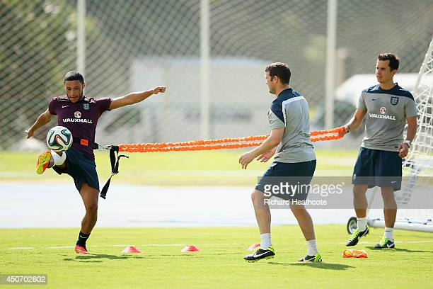 Alex OxladeChamberlain of England kicks a ball during a training session at the Urca military base training ground at on June 16 2014 in Rio de...