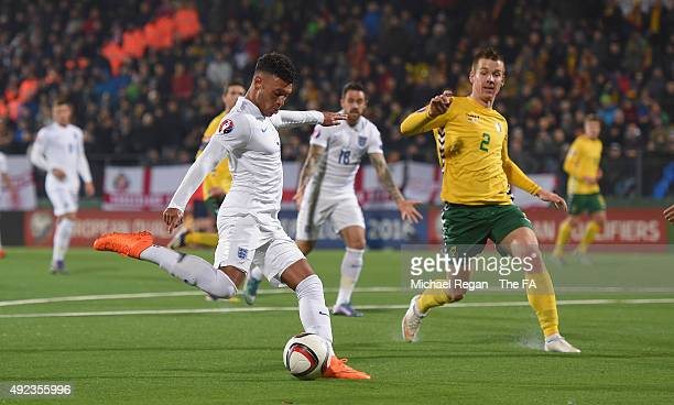 Alex OxladeChamberlain of England scores to make it 30 during the UEFA EURO 2016 qualifier match between Lituania and England on October 12 2015 in...