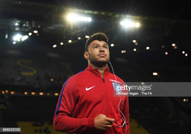 Alex OxladeChamberlain of England takes a look around the pitch prior to the international friendly match between Germany and England at Signal Iduna...