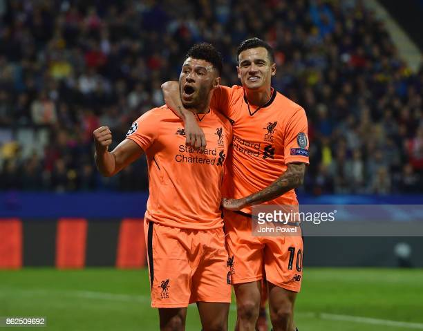 Alex OxladeChamberlain of Liverpool celebrates after scoring the sixth goal during the UEFA Champions League group E match between NK Maribor and...