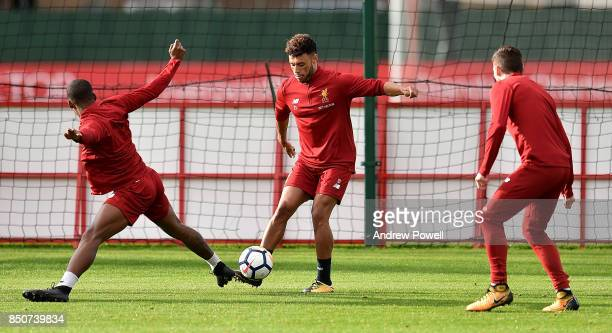 Alex OxladeChamberlain of Liverpool during a training session at Melwood Training Ground on September 21 2017 in Liverpool United Kingdom