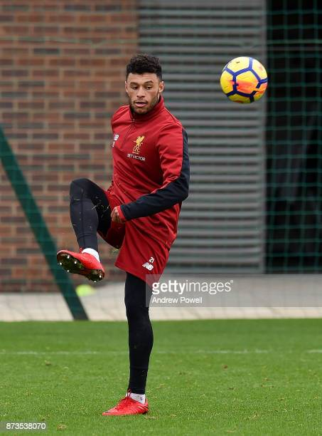 Alex OxladeChamberlain of Liverpool during a training session at Melwood Training Ground on November 13 2017 in Liverpool England