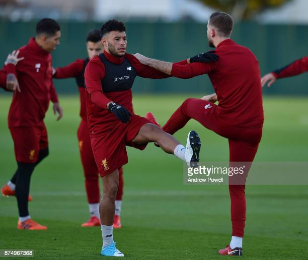 Alex OxladeChamberlain of Liverpool during a training session at Melwood Training Ground on November 16 2017 in Liverpool England