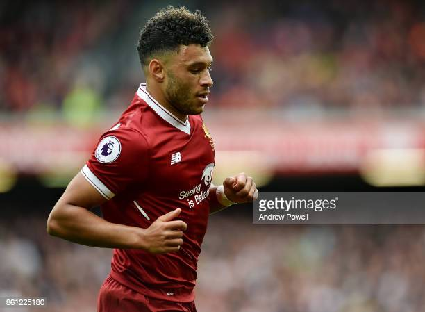 Alex OxladeChamberlain of Liverpool during the Premier League match between Liverpool and Manchester United at Anfield on October 14 2017 in...