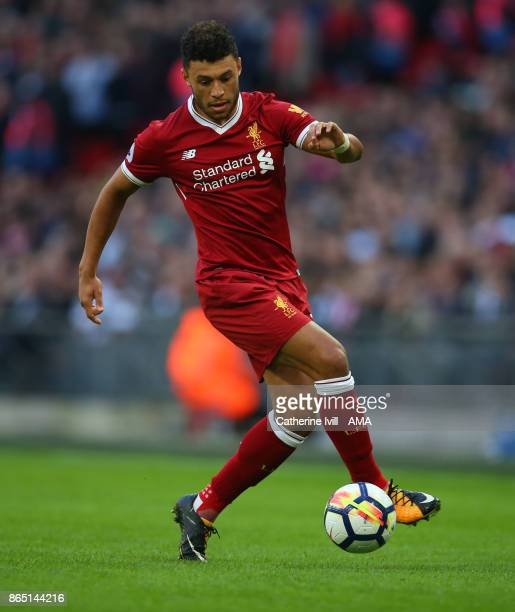 Alex OxladeChamberlain of Liverpool during the Premier League match between Tottenham Hotspur and Liverpool at Wembley Stadium on October 22 2017 in...