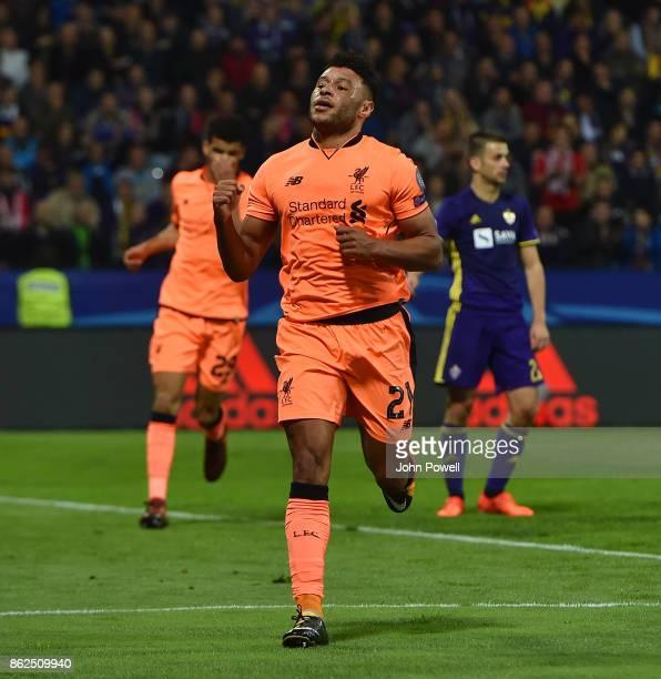 Alex OxladeChamberlain of Liverpool scoring the sixth goal during the UEFA Champions League group E match between NK Maribor and Liverpool FC at...