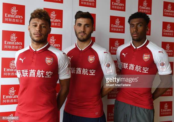 Alex OxladeChamberlain Sead Kolasinac and Alex Iwobi of Arsenal takes part in a chinese cooking event for Emirates on July 21 2017 in Beijing China