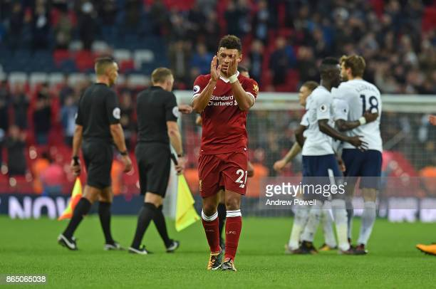Alex OxladeChamberlin of Liverpool at the end of the Premier League match between Tottenham Hotspur and Liverpool at Wembley Stadium on October 22...