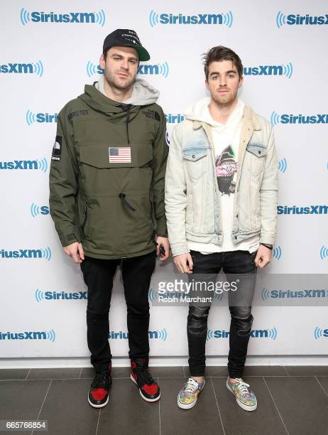 Alex Pall and Andrew Taggart of DJ/producer duo The Chainsmokers visit at SiriusXM Studios on April 7 2017 in New York City