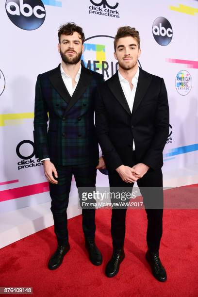 Alex Pall and Andrew Taggart of music group The Chainsmokers attend the 2017 American Music Awards at Microsoft Theater on November 19 2017 in Los...
