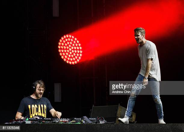 Alex Pall and Andrew Taggart of The Chainsmokers performs on stage during Day 2 of FVDED In The Park at Holland Park on July 8 2017 in Surrey Canada