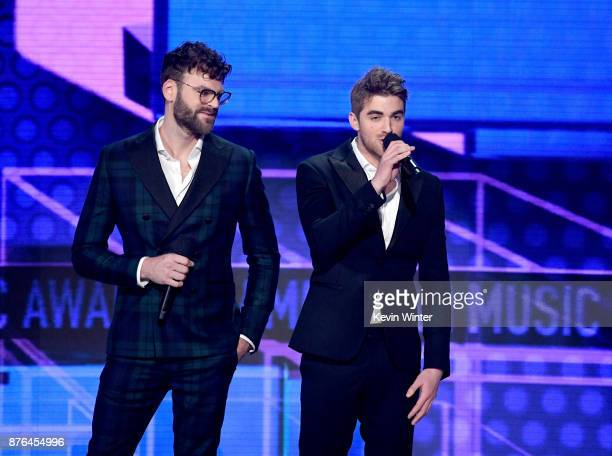 Alex Pall and Andrew Taggart of The Chainsmokers speak onstage during the 2017 American Music Awards at Microsoft Theater on November 19 2017 in Los...