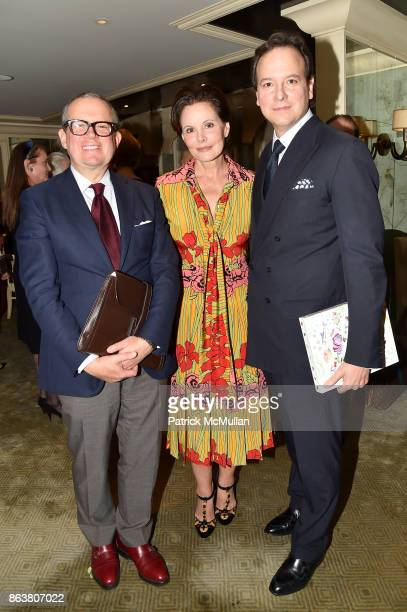 Alex Papachristidis Gayfryd Steinberg and George Farias attend the launch of Second Bloom Cathy Graham's Art of the Table hosted by Joanna Coles and...