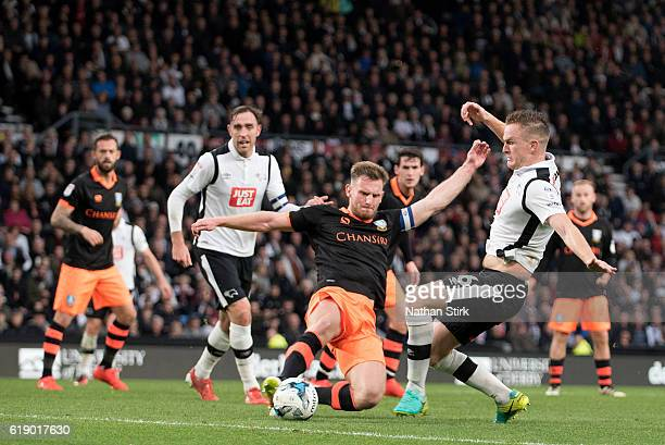 Alex Pearce of Derby County scores the second goal during the Sky Bet Championship match between Derby County and Sheffield Wednesday at iPro Stadium...