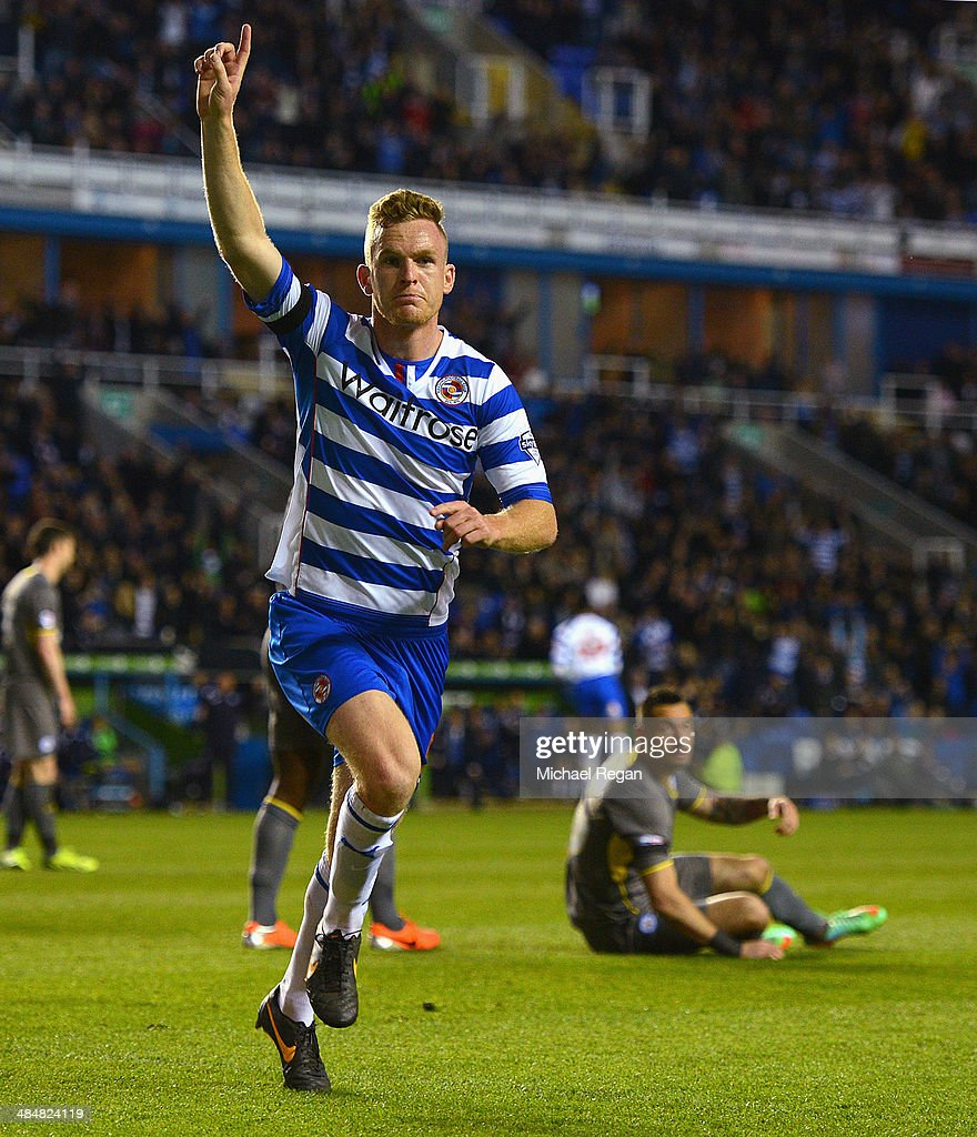 Alex Pearce of Reading celebrates scoring to make it 10 during the Sky Bet Championship match between Reading and Leicester City at the Madejski...