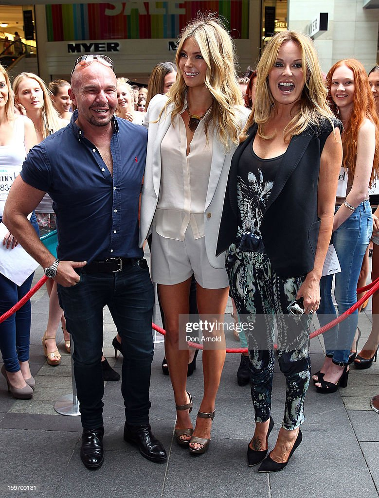 Alex Perry, <a gi-track='captionPersonalityLinkClicked' href=/galleries/search?phrase=Jennifer+Hawkins&family=editorial&specificpeople=202875 ng-click='$event.stopPropagation()'>Jennifer Hawkins</a> and Charlotte Dawson arrive at the Sydney audition for Season 8 of Australia's Next Top Model on January 19, 2013 in Sydney, Australia.