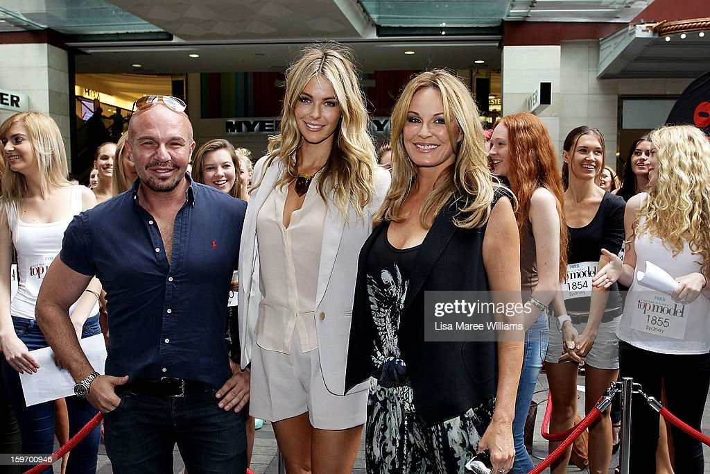 Alex Perry, Jennifer Hawkins and Charlotte Dawson pose during the Sydney audition for Season 8 of Australia's Next Top Model at Pitt Street Mall on January 19, 2013 in Sydney, Australia.