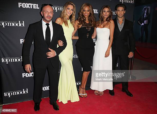 Alex Perry Jennifer Hawkins Tyra Banks Cheyenne Tozzi and Didier Cohen pose at Carriageworks on December 5 2014 in Sydney Australia