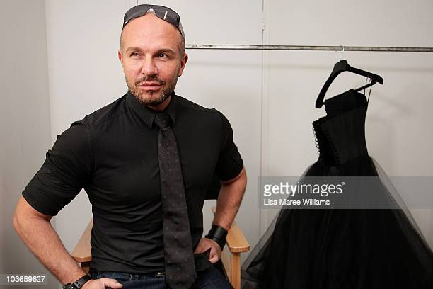 Alex Perry poses backstage ahead of his catwalk show as part of Rosemount Sydney Fashion Festival 2010 at Sydney Town Hall on August 28 2010 in...
