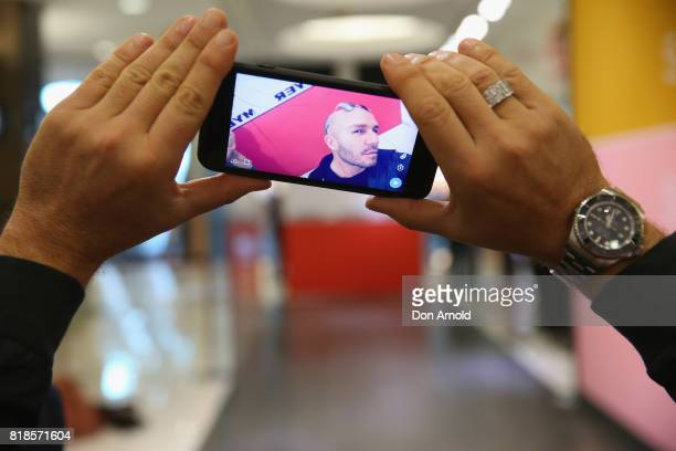 Alex Perry takes a selfie during the Myer Spring 17 Fashion Launch Model Casting at Myer Bondi Junction on July 19 2017 in Sydney Australia