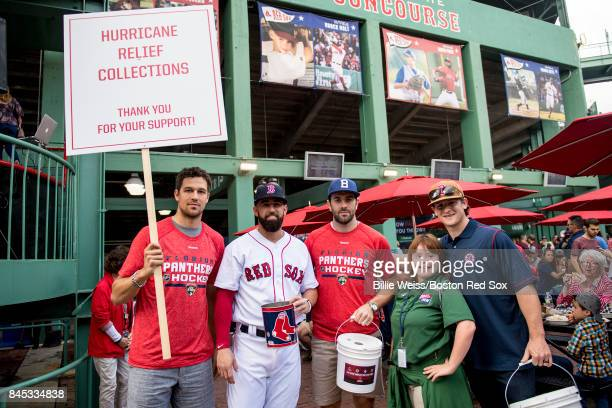 Alex Petrovic of the Florida Panthers Deven Marrero of the Boston Red Sox Keith Yandel of the Florida Panthers a volunteer and Torey Krug of the...