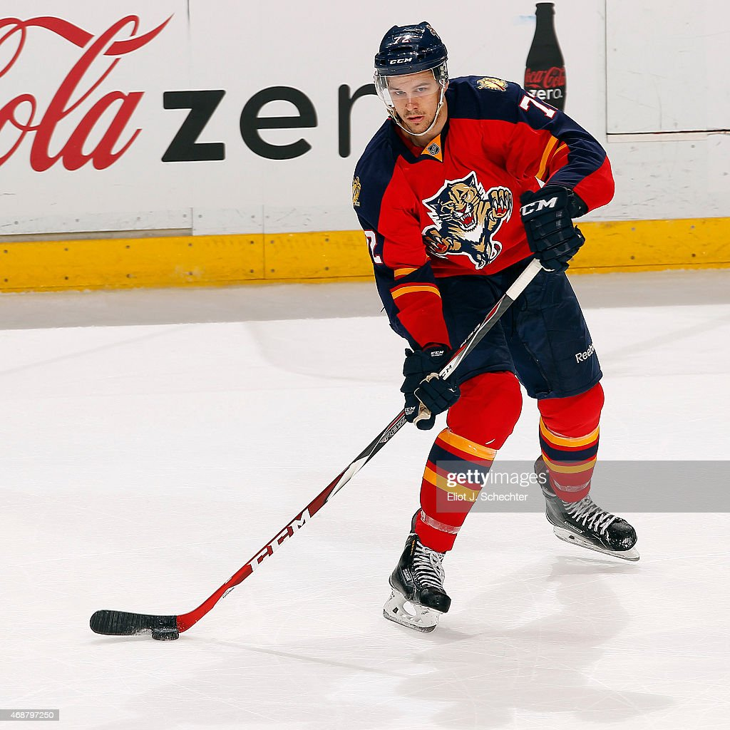 <a gi-track='captionPersonalityLinkClicked' href=/galleries/search?phrase=Alex+Petrovic&family=editorial&specificpeople=8639704 ng-click='$event.stopPropagation()'>Alex Petrovic</a> #72 of the Florida Panthers passes the puck against the Tampa Bay Lightning at the BB&T Center on April 4, 2015 in Sunrise, Florida.